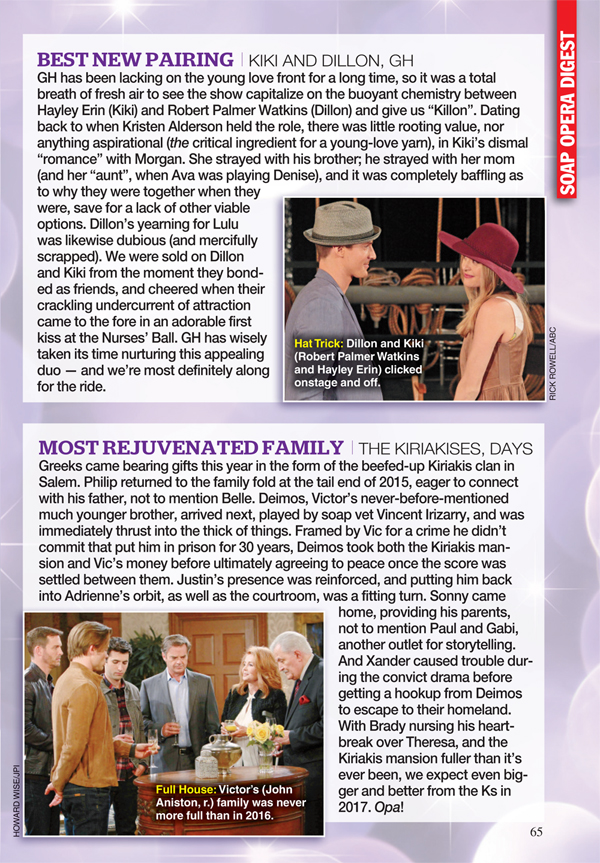 Soap Opera Digest : BEST NEW PAIRING I KIKI AND DILLON, GH